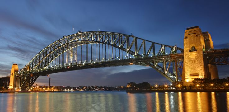 Sydney harbour bridge dusk