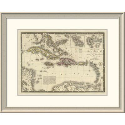 "East Urban Home 'Iles Antilles Ou Des Indes Occidentales, 1828' Framed Print Size: 24"" H x 30"" W x 1.5"" D"
