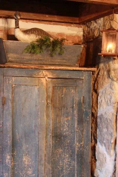 Primitive Blue Cupboard...old box with pine.                                    ****
