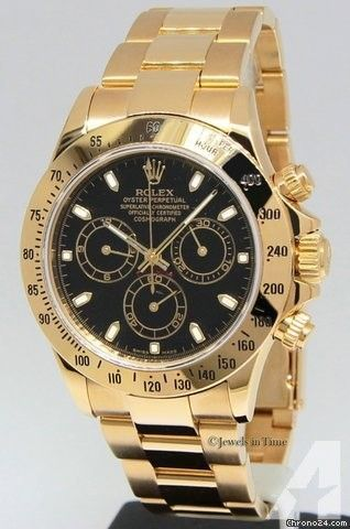 Rolex Daytona Chronograph 18k Yellow Gold Black Dial Mens Watch 116528 w/Box - online mens watches shopping, cheap mens watches for sale, branded watches for mens