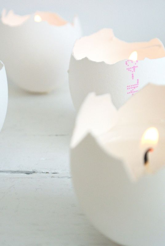 egg shells candle holder! who would have thought?