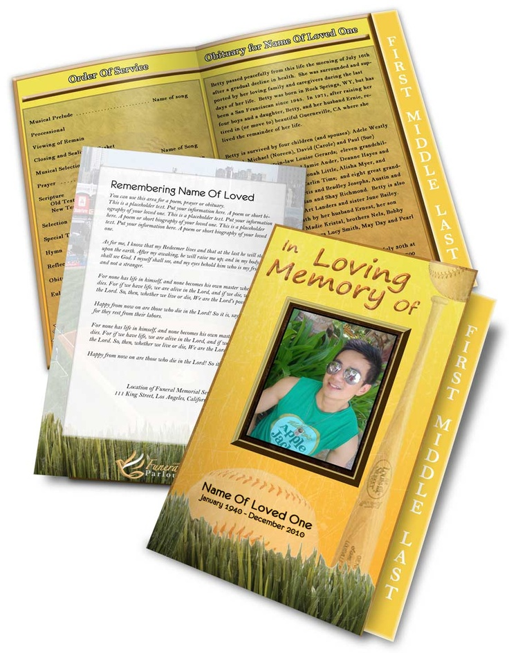 139 best images about funeral program templates thank for Baseball brochure template