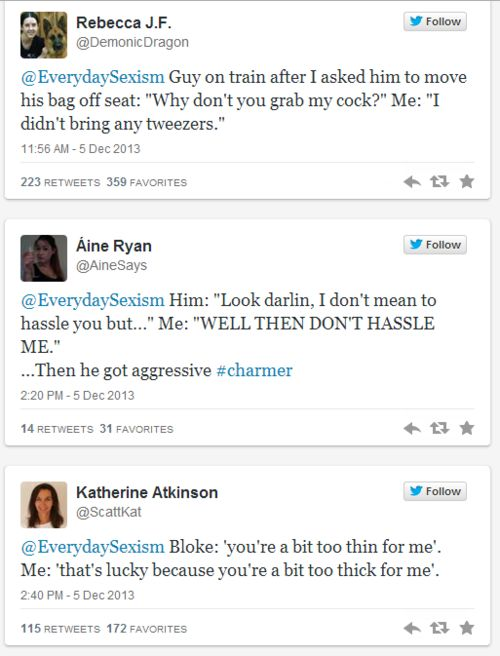 Women are sharing their comebacks to instances of everyday sexism