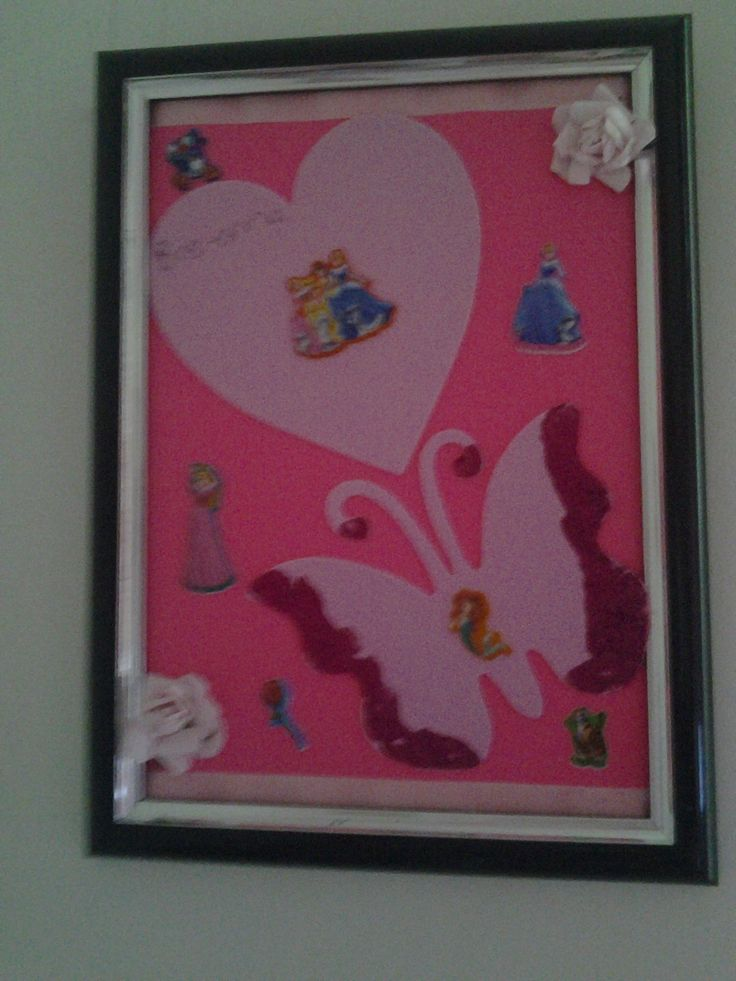 Kids 3d frame. .......use an old frame with out glass and add colored paper with bubble stickers of your choice and glue a single paper flower to the corners add some glitter for a fairytale feel xxx the kids will love it xxx