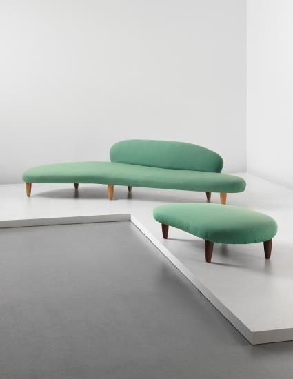 "Isamu Noguchi, Rare ""Cloud-form"" sofa, model no. IN-70, and ""Cloud-form"" ottoman, model no. IN-71"