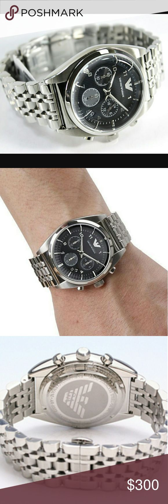 NWT Emporio Armani Stainless chronograph watch EMPORIO ARMANI MEN'S LUXURY DRESS STYLE CHRONOGRAPH WATCH.  PRICE? $300.00 . AUTHENTIC WATCH? . AUTHENTIC BOX? . AUTHENTIC MANUAL  SHIPPING PLEASE ALLOW 3-4 BUSINESS DAYS FOR ME TO SHIPPED IT OFF O373.I HAVE TO GET IT FROM MY STORE  THANK YOU FOR YOUR UNDERSTANDING. Emporio Armani Accessories Watches