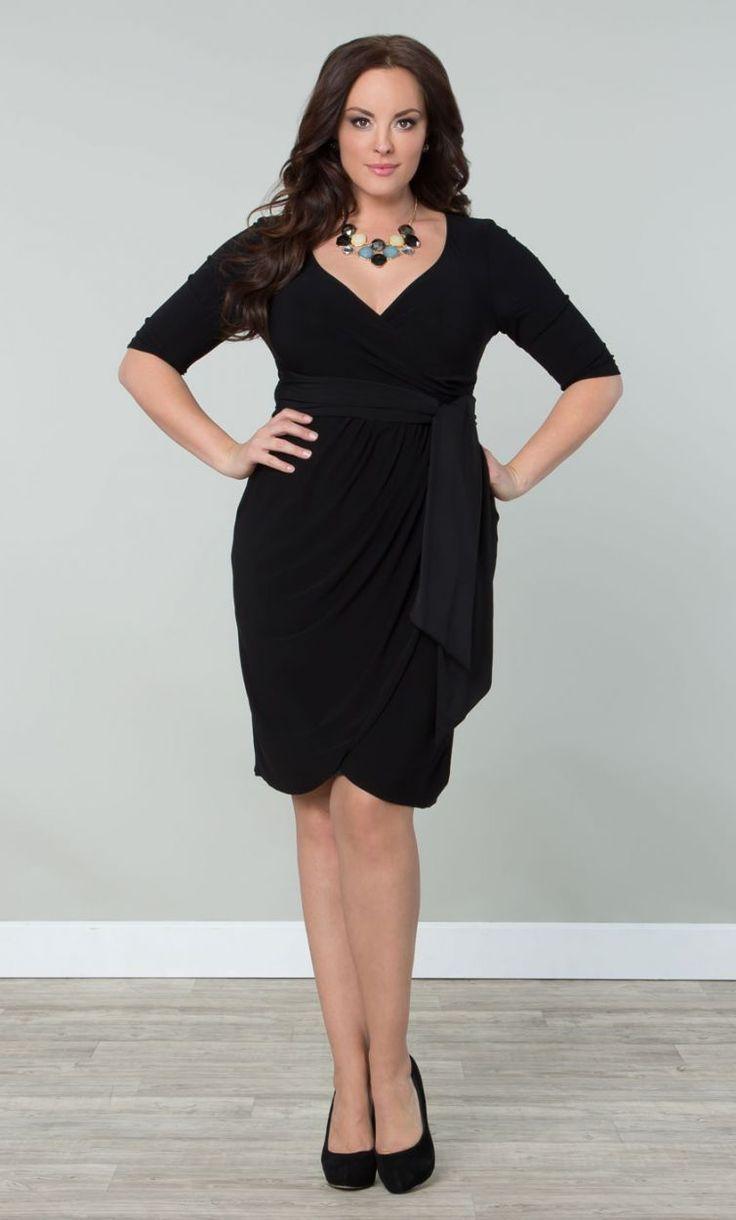 Harlow Faux Wrap Dressy Cocktail Dress Black (Womens Plus Size ...