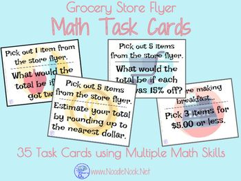 -------Math Task Cards for Grocery Store Flyers!------- Working on money skills but want more meaningful activities in your classroom? This one is just for you! Academic, Functional, and FUN! Flyer Task Cards