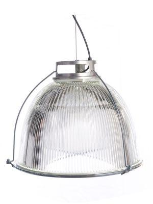 Hanglamp met metaal en kap van geperst glas. Brede lichtspreiding. Ideaal boven een tafel of als basisverlichting in een ruimte. Industrieel icoon!