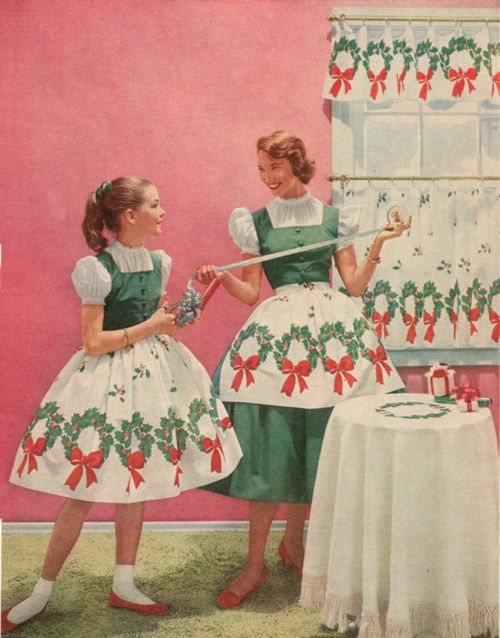 1957- mother/daughter Christmas (@Staci Schiller we need these outfits for Christmas baking.)