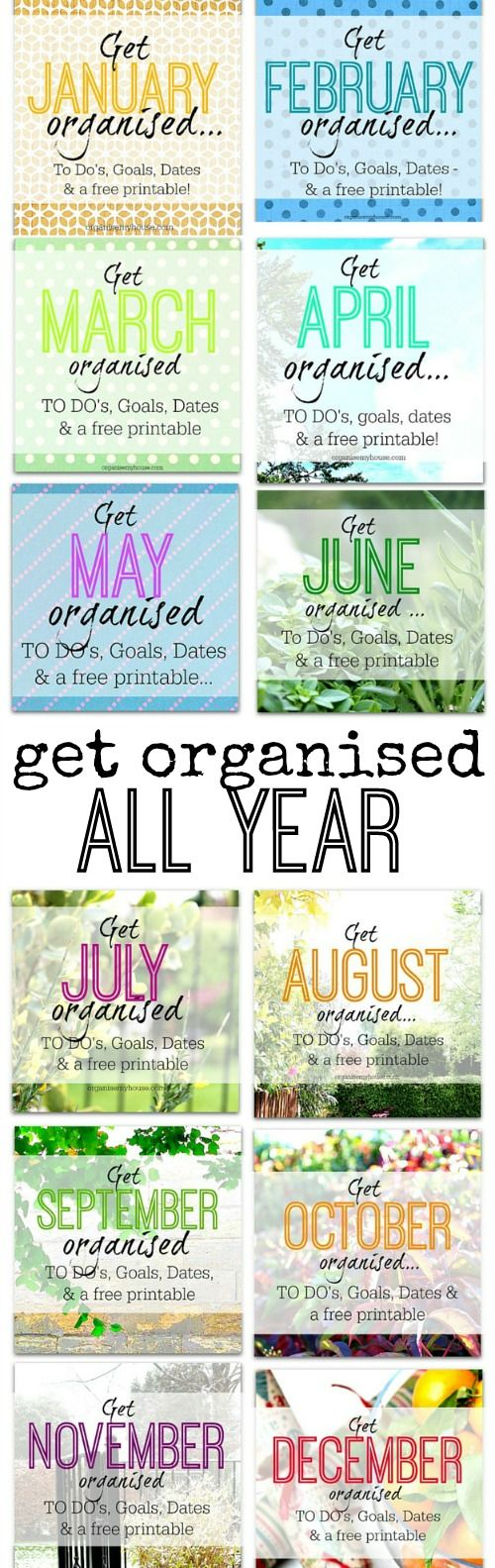 Free printable monthly planner set. How to be organised this year - month by month tips. Monthly planner / free monthly planner set / organising ideas for every month of the year