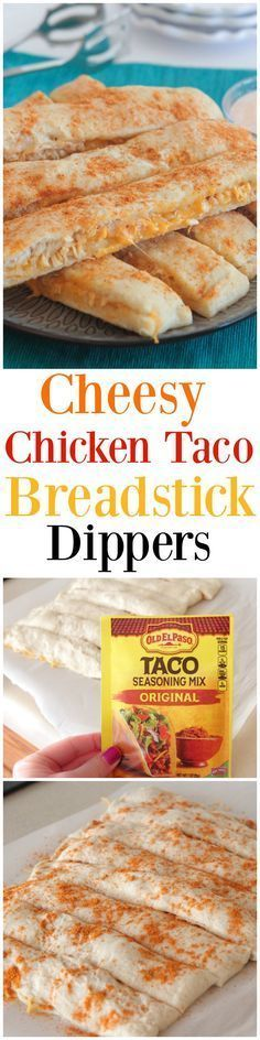Cheesy Chicken Taco Breadstick Dippers! Simple appetizer all of your guests will love!!