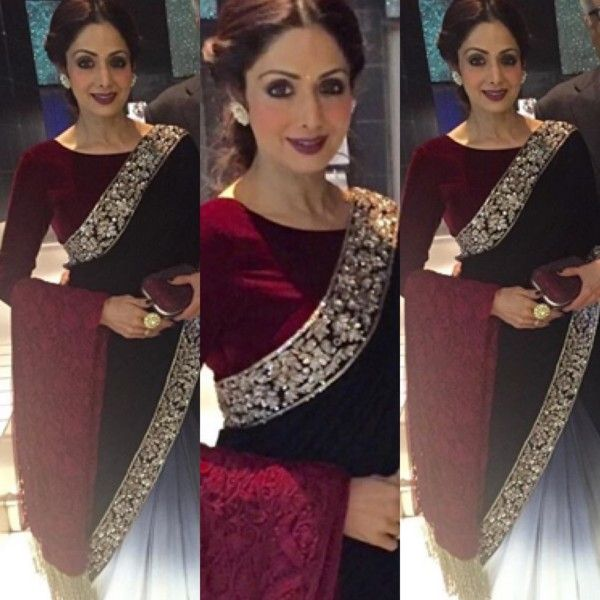 At a recent event, SriDevi Kapoor donned a half and half saree by Manish Malhotra.  ♥ From all that is 'fashionable' to all that were, things that are making a revival; My board on Fashion is analogous to the time machine that covers the past, present and future of fashion - saris, dresses, bags and more!!! You could follow me on pinterest at: Priyasha Ray.(look under pinners)  Stay fashionable!♥