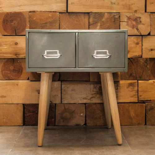 Steel filing cabinet with a wooden touch