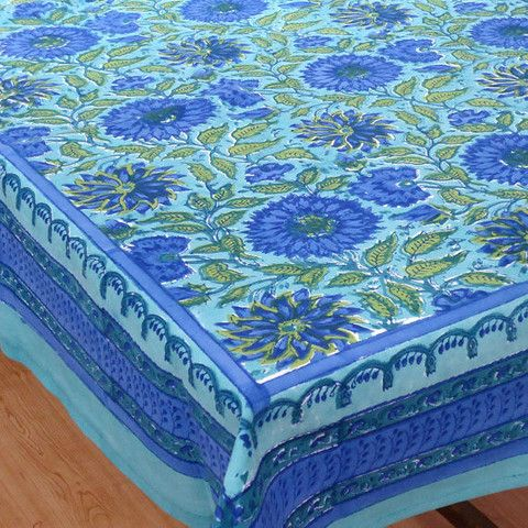 Charming Block Printed By Hand Using Carved Wooden Blocks. 6 To 8 Seater, 150 X Made  In India.
