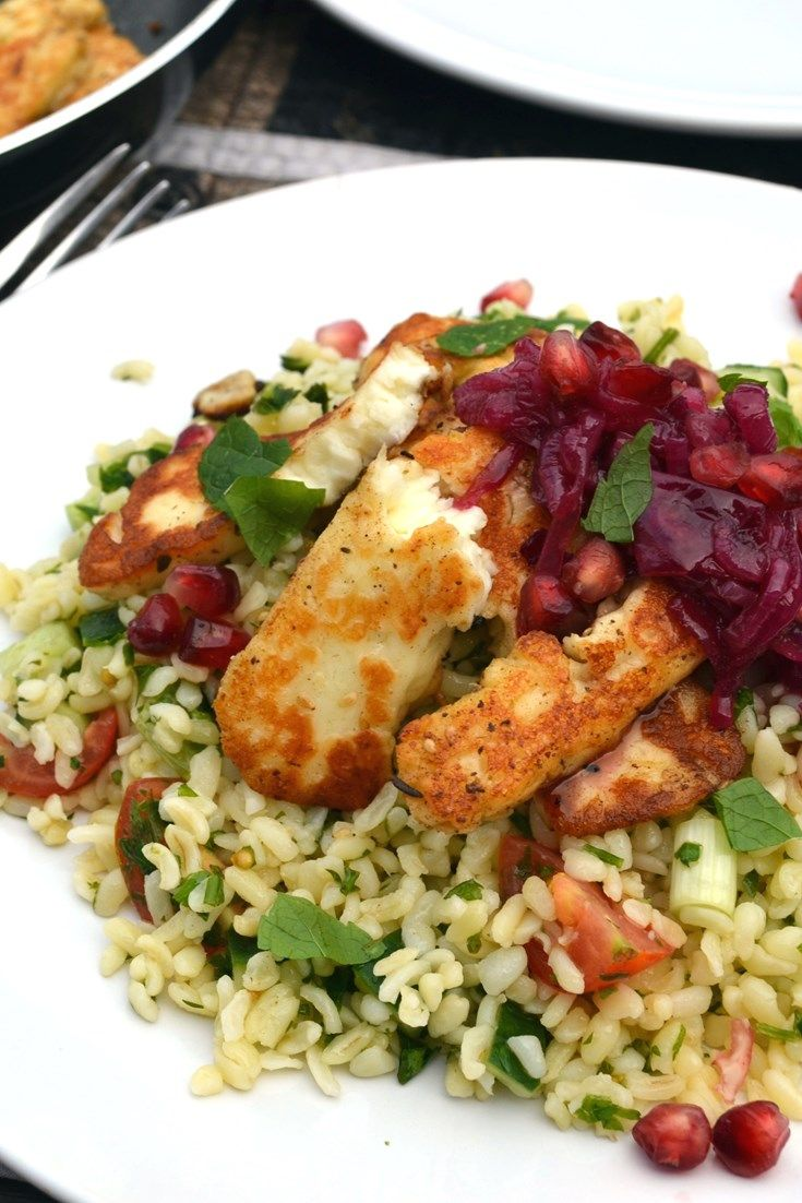 Marinated halloumi with a mint, pomegranate and red onion relish and ...