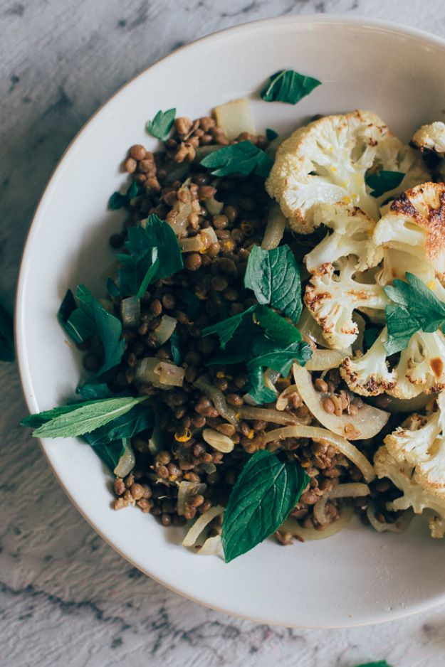 Roasted Cauliflower with Lebanese Lentils