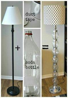 Plastic bottles and duct tape DIY floor lamp makeover tutorial