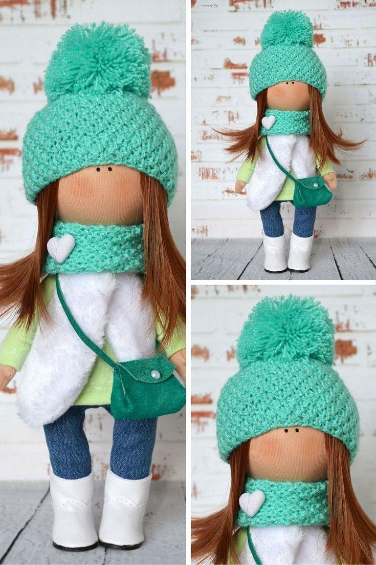 Green doll Interior doll Home doll Art doll handmade brown white colors Tilda…