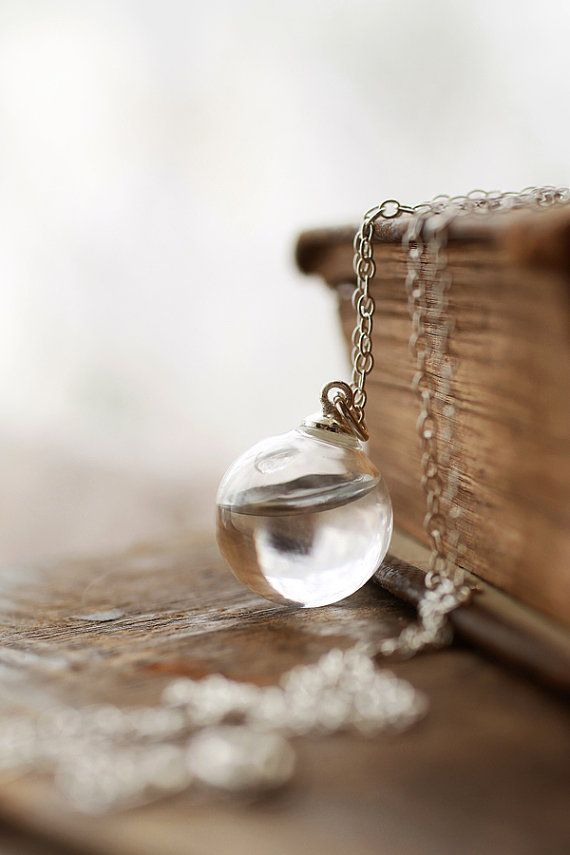 Rain drop water necklace in sterling silver by RubyRobinBoutique, €30.00