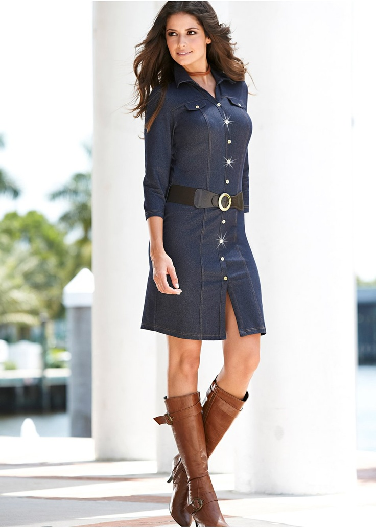 Great example of shirtwaist dress. Great look with Boots or Sandals.