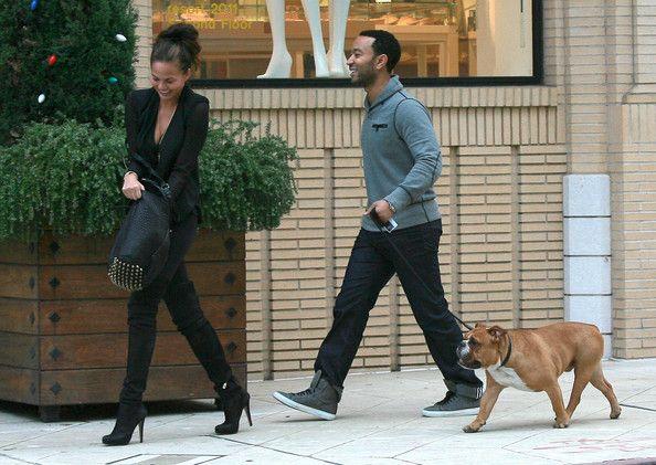 Chrissy Teigen Photos - John Legend And Christine Teigen Walking Their Dog In Beverly Hills - Zimbio