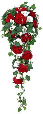 Brudbukett Bridal flowers.  Röda rosor och lisianthus http://holmsundsblommor.blogspot.se/2012/09/droppe-i-rott-och-vitt.html 120916