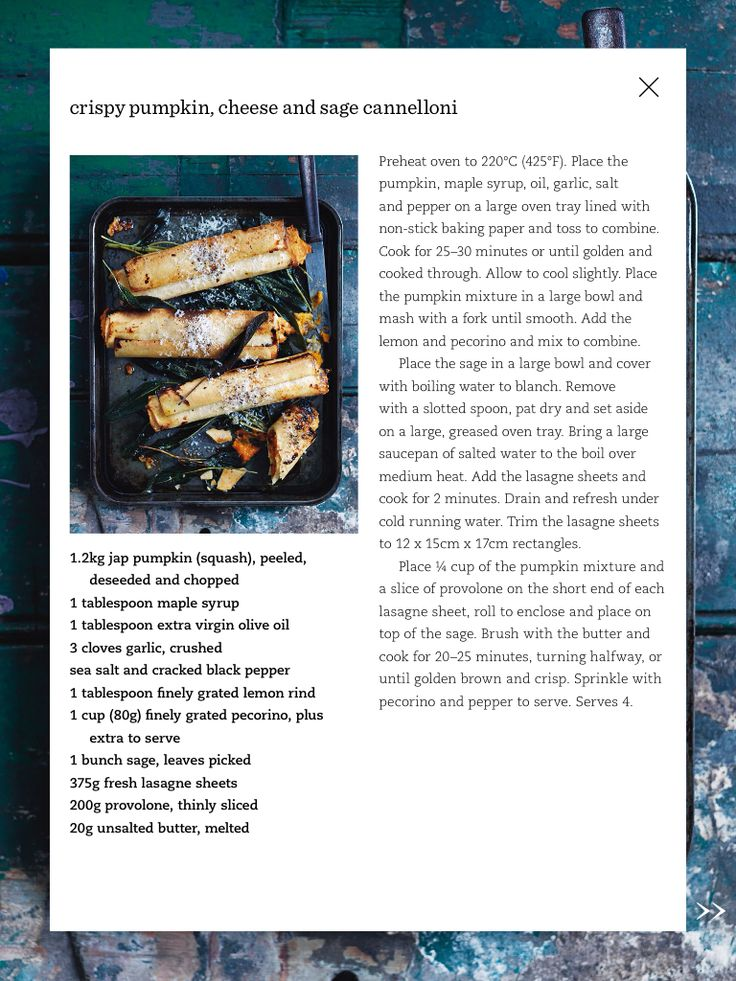 Pumpkin and sage cannelloni | Donna Hay Mag Aug Sep 2015 |