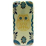 Fashion IMD Craft Smooth TPU Back Case for iPhone 5C (Blue Tribal Flowers & Owl )