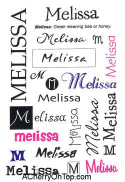 Names > Melissa Name Stickers: Stickers Galore