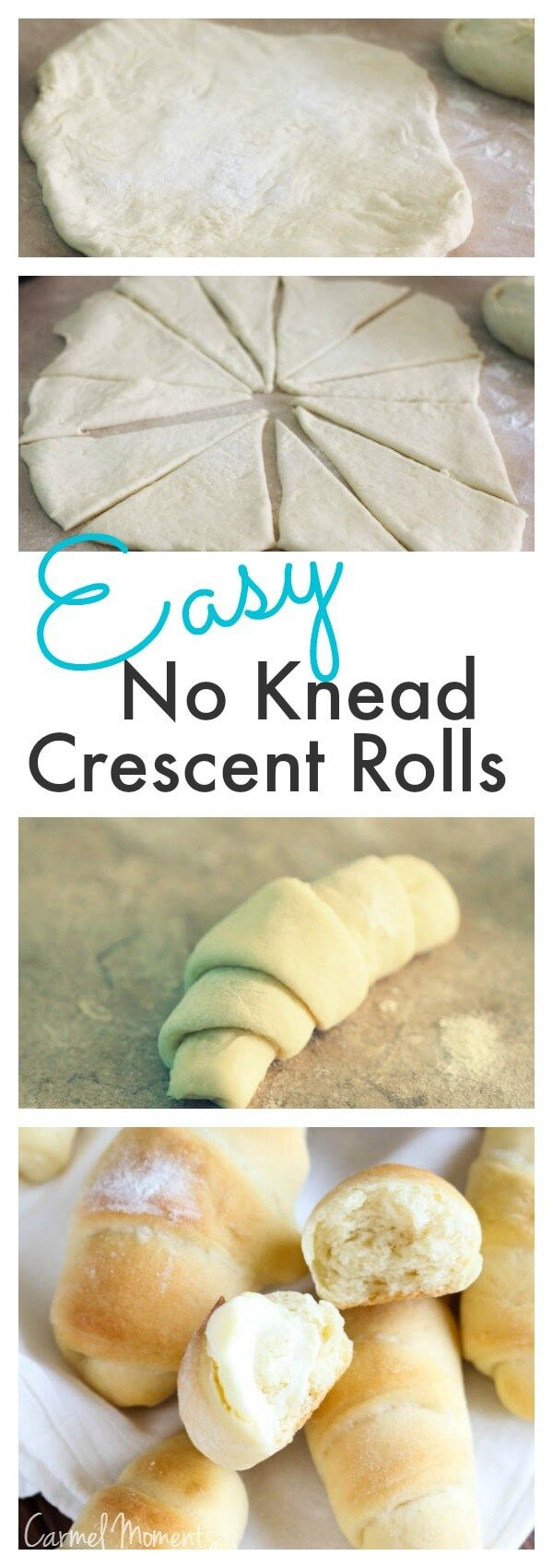 Easy No Knead Crescent Rolls - This really is easy, but don't believe the time estimate. These took me about 1&1/2 to 2 hours to make.