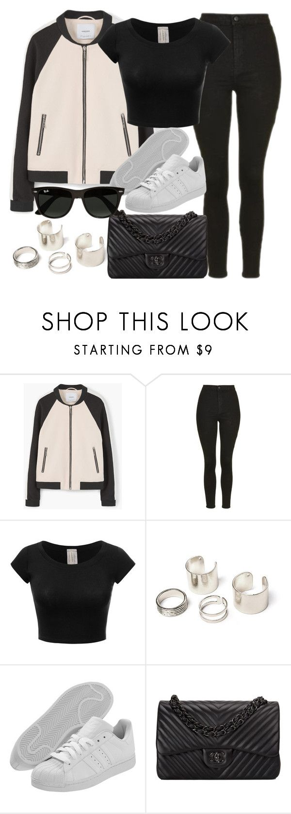 """""""Style #11057"""" by vany-alvarado ❤ liked on Polyvore featuring MANGO, Topshop, adidas Originals, Chanel and Ray-Ban"""