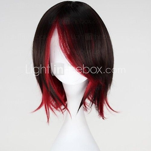 rwby ruby korte rechte bruin gemengde rode anime cosplay pruik - USD $24.99
