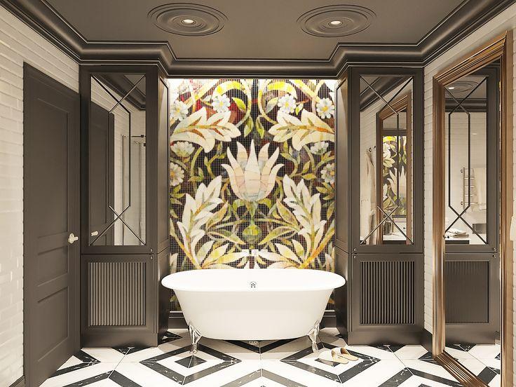 Ванная комната, черно-белый пол, цветок на стене