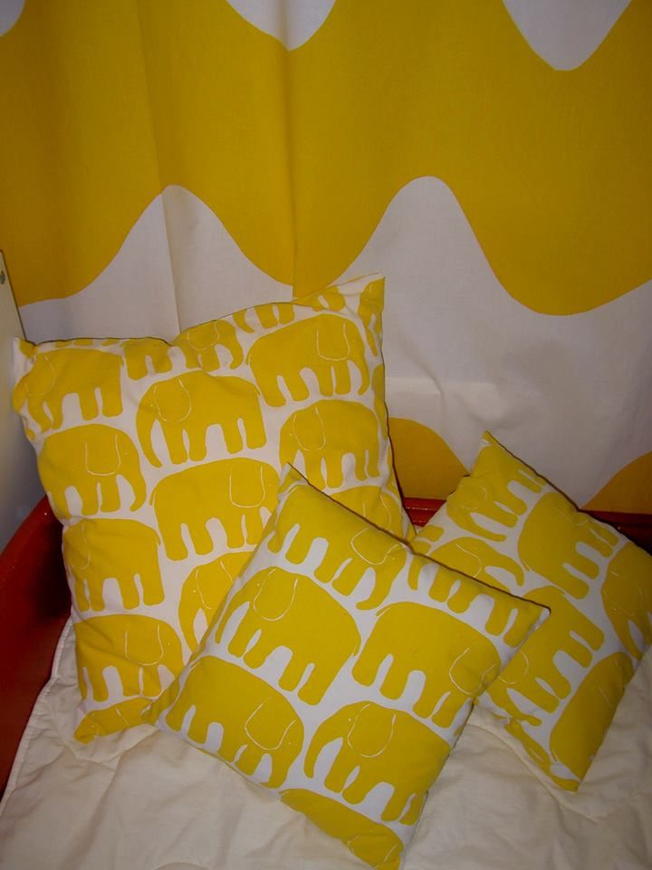 """My daughter made these pillow covers from old, used kids´ sheets from the 1970s. Thus the original colour in 2007."" -LK"