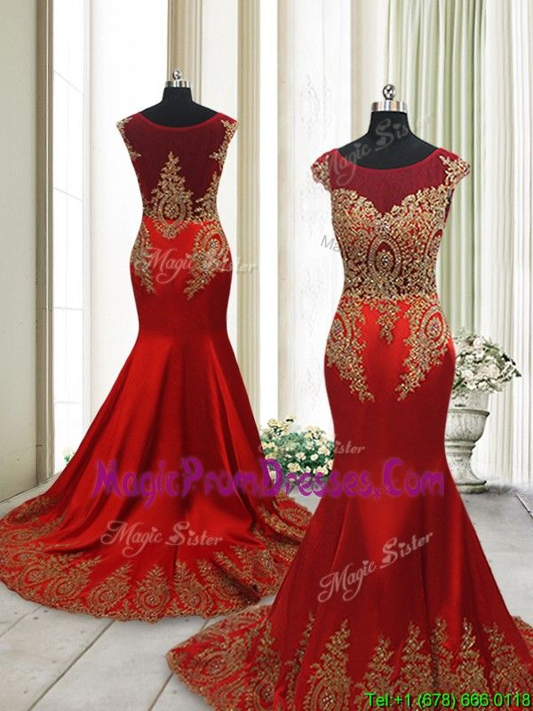 Beautiful Brush Train Mermaid Cap Sleeves Prom Dress with Beading and Appliques,2017 prom dress with brush train, prom dress for 2017, red prom dress with gold appliques, prom dress with cap sleeves,
