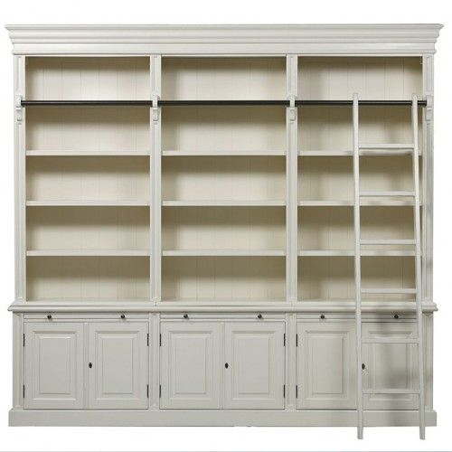 French Provincial Classic 6 Door Bookcase With Ladder                                                                                                                                                                                 More