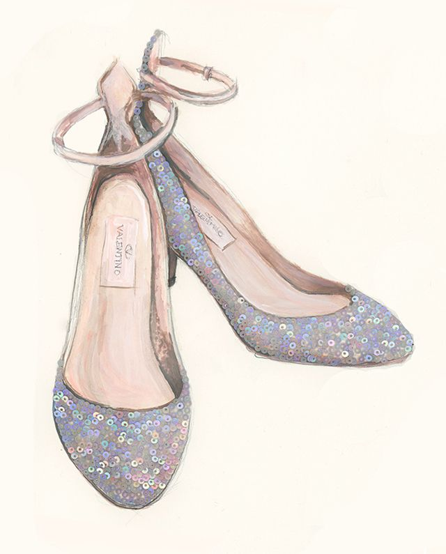 Stunning Valentino shoes painted and sequined by Katie Rodgers of Paperfashion