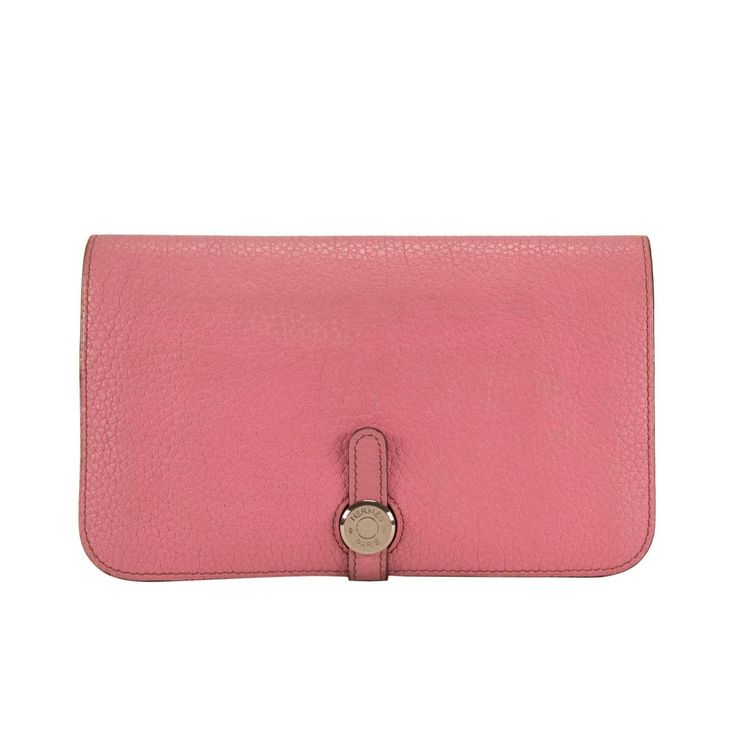 Hermes Wallet Dogon Duo Togo Pink Palladium Hardware 2013 | From a collection of rare vintage wallets and small accessories at https://www.1stdibs.com/fashion/handbags-purses-bags/wallets-small-accessories/