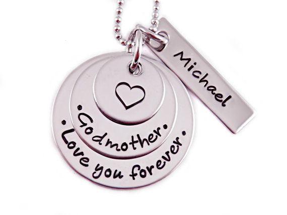 Personalized Godmother Necklace - Hand Stamped Jewelry - Stainless Steel - Love You Forever - Godmother Jewelry - Godmom - Godmother Gift on Etsy, $36.00