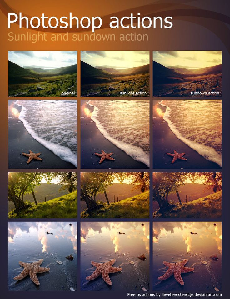 Photoshop actions sunlight and sundown