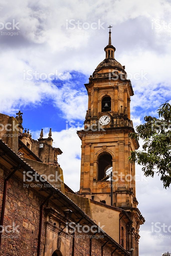 Bogota, Colombia: Looking Upwards at Belfry of Cathedral Primada royalty-free stock photo