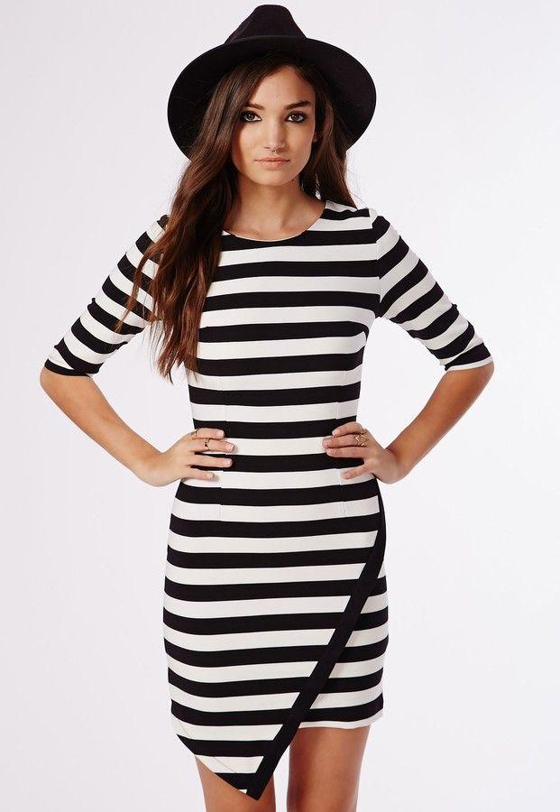 Val Asymmetric Hem Shift Dress Black/White Stripe