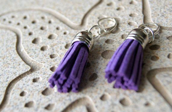 Purple Faux BohoTassel Earrings  Silver Top by InspiredDesigns4YOU, $25.00