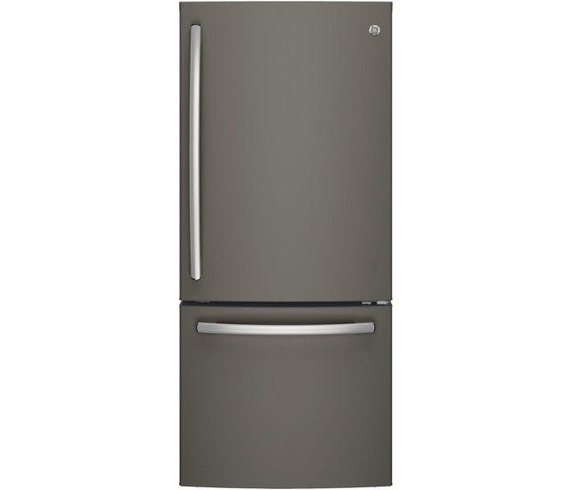 GE - 20.9 Cu. Ft. Bottom-Freezer Refrigerator - Slate - Front Zoom