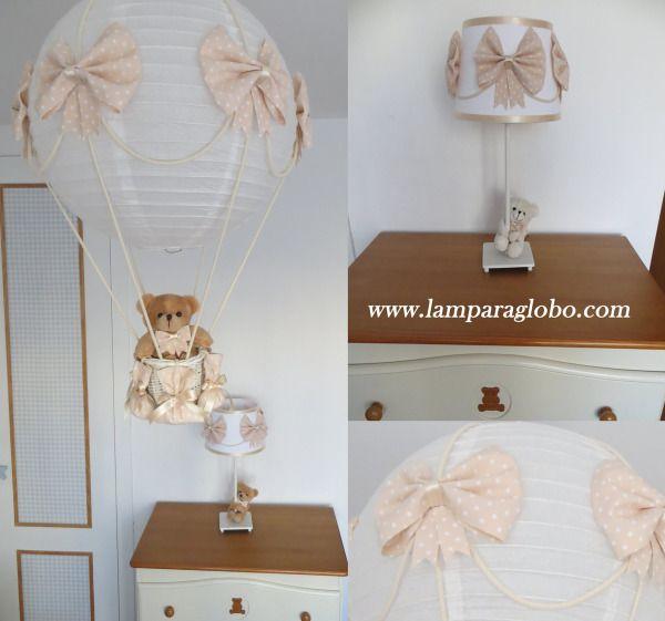 conjunto lampara globo mas lampara mesilla bebe beige topitos