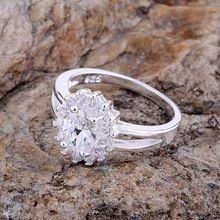 Venta al por mayor anillo de plata, bañado en plata moda, con incrustaciones de brillantes redondeado / cexakwea dwfamnma LQ-R145(China (Mainland))