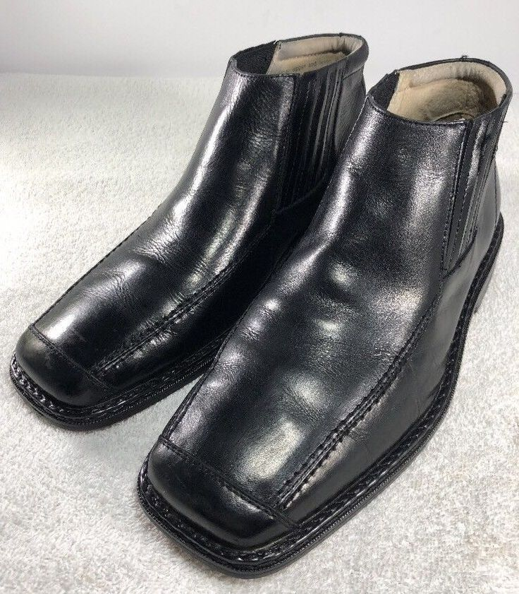 Men's Stacy Adams Size 9M Ankle Chukka Boots Black Leather Dress Casual  | eBay