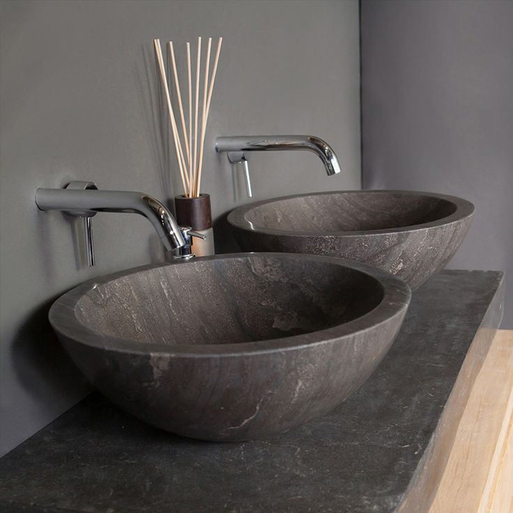 Bathroom Marble Sink : Roma Natural Stone Basin - Blue Stone - 16033/1