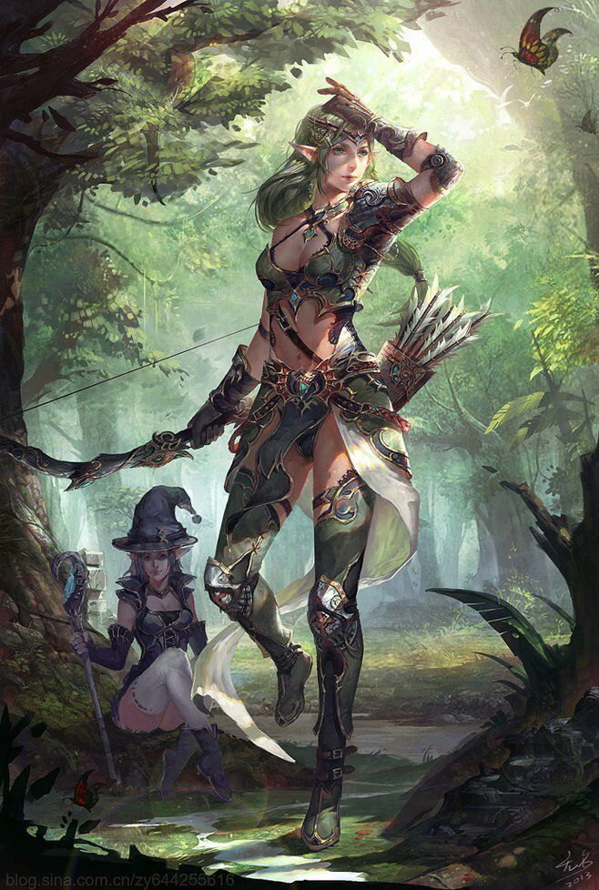 f Elf Fighter magic armor w f Elf Wizard staff forest trail